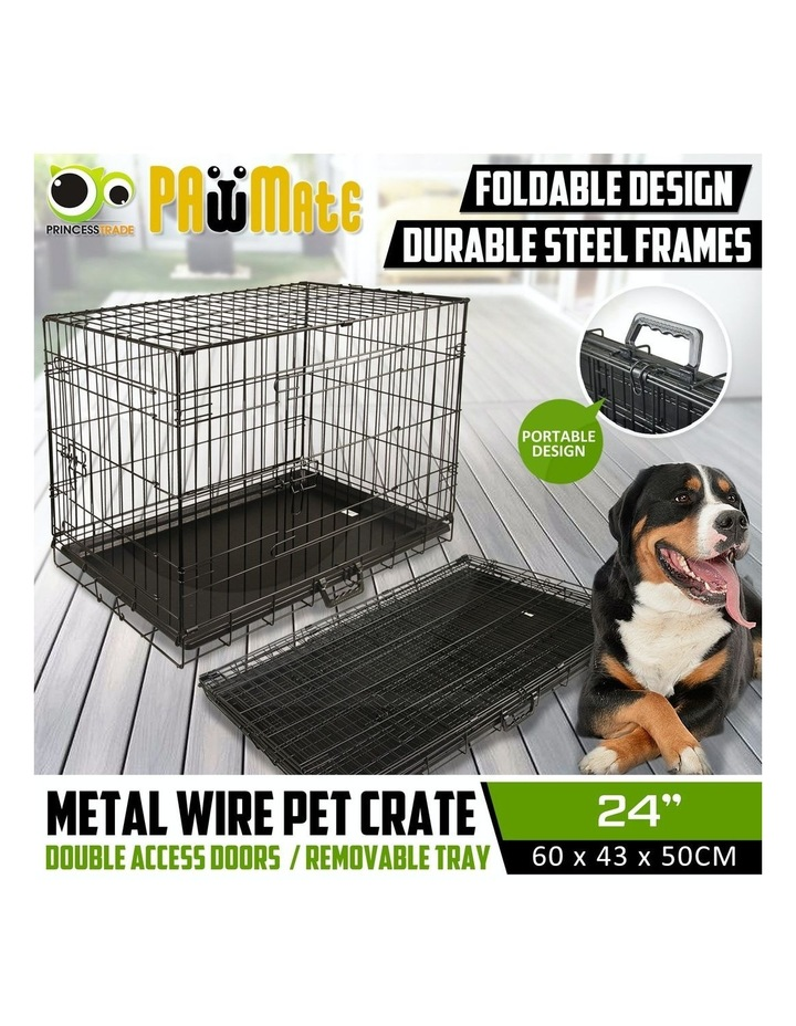 "24"" Foldable Wire Dog Cage with Tray image 2"