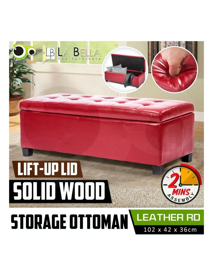 102cm Storage Ottoman Leather - RED image 2