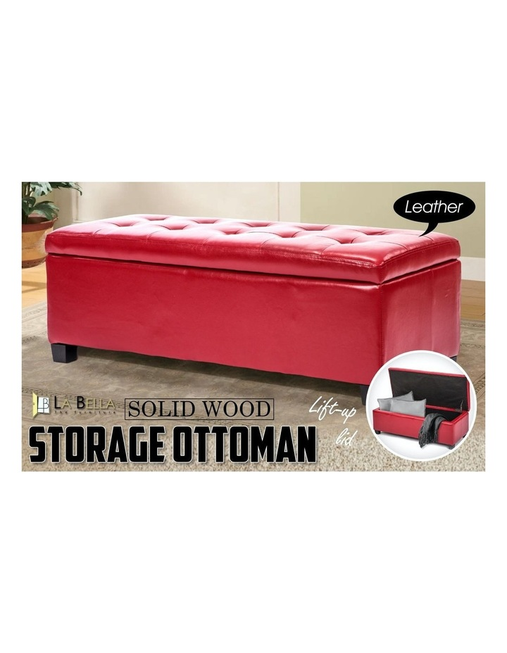 102cm Storage Ottoman Leather - RED image 3