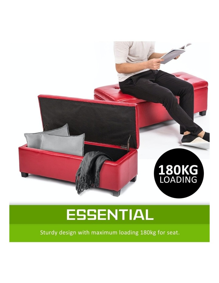 102cm Storage Ottoman Leather - RED image 5