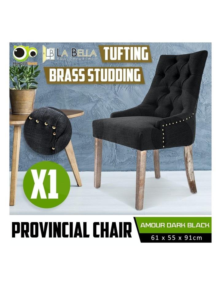 French Provincial Oak Leg Chair Amour - Dark Black image 2
