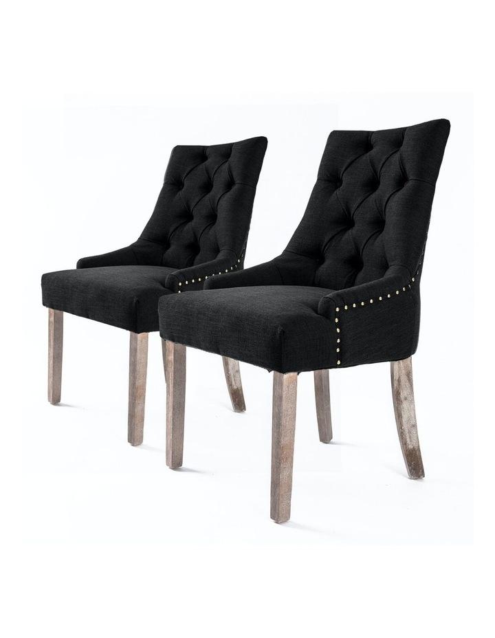 2X French Provincial Oak Leg Chair AMOUR - DARK BLACK image 1