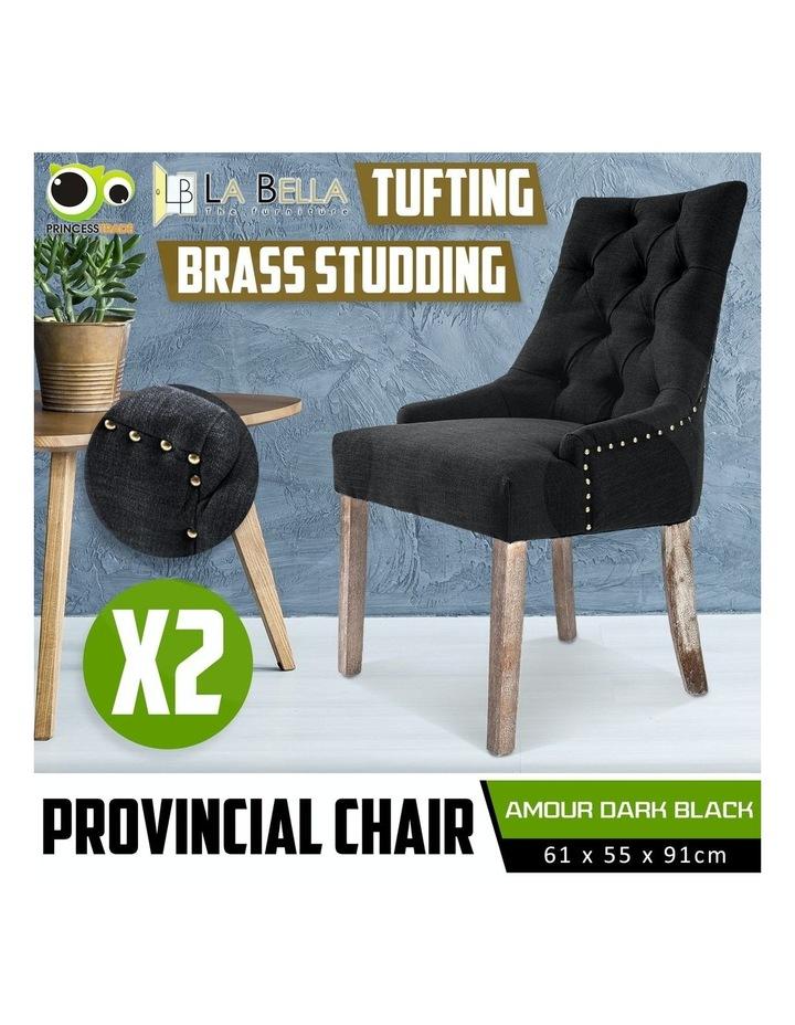 2X French Provincial Oak Leg Chair AMOUR - DARK BLACK image 2