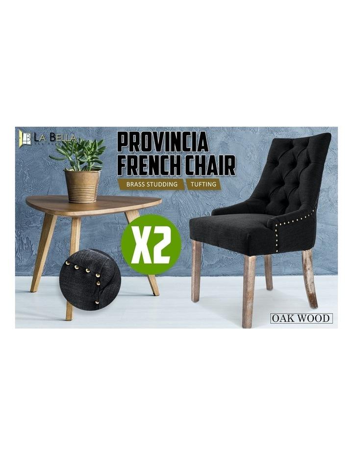 2X French Provincial Oak Leg Chair AMOUR - DARK BLACK image 3