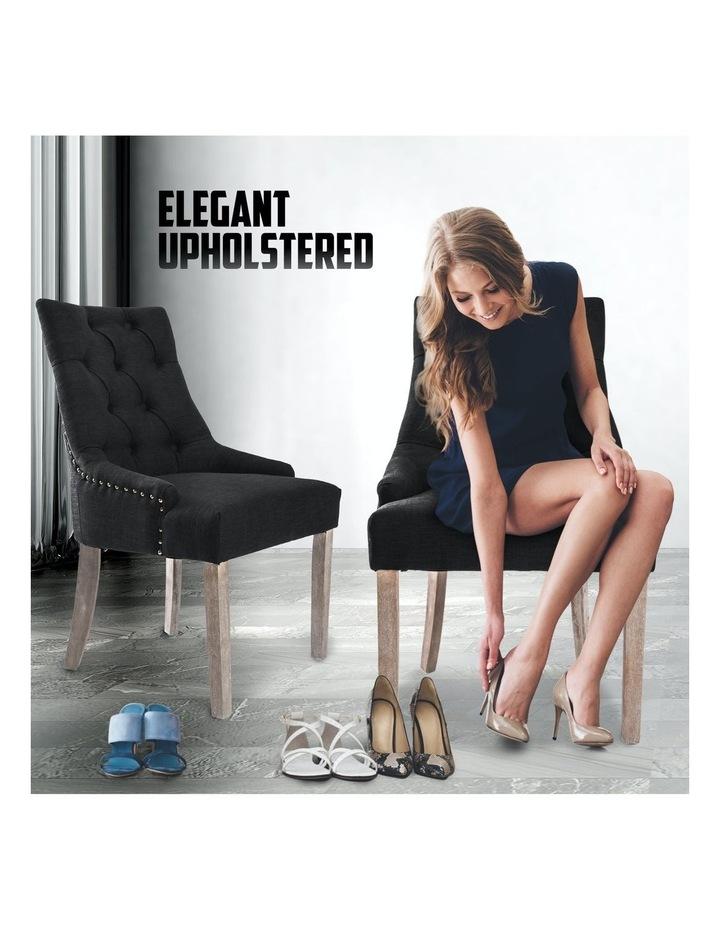 2X French Provincial Oak Leg Chair AMOUR - DARK BLACK image 4
