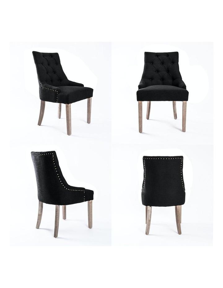 2X French Provincial Oak Leg Chair AMOUR - DARK BLACK image 5
