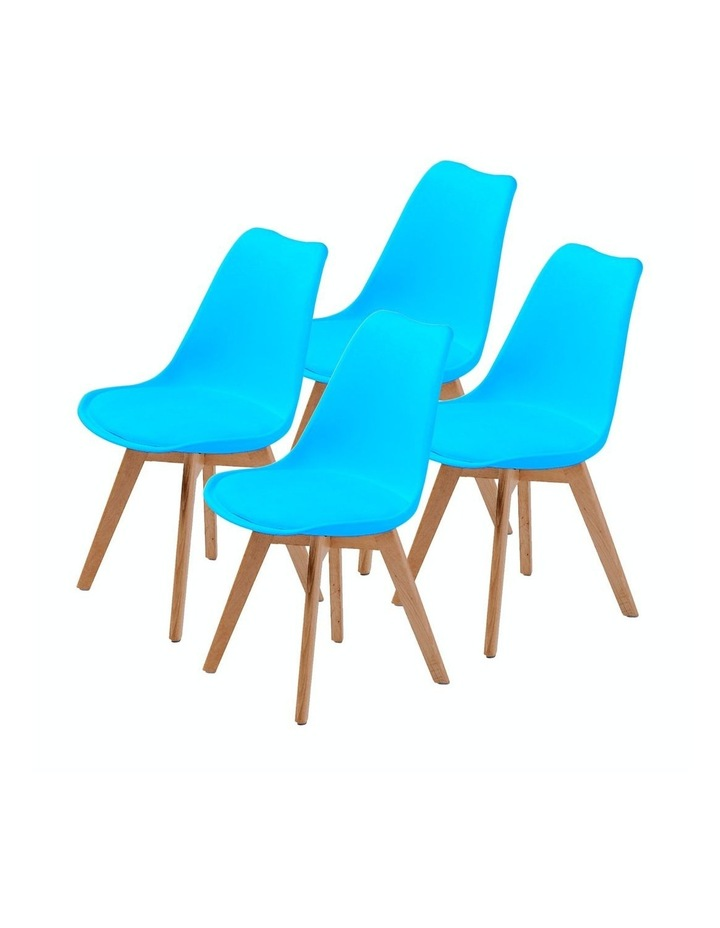4X Padded Seat Dining Chair - GREY BLUE image 1