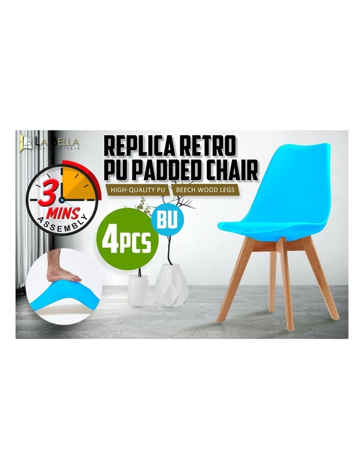 4X Padded Seat Dining Chair - GREY BLUE image 3
