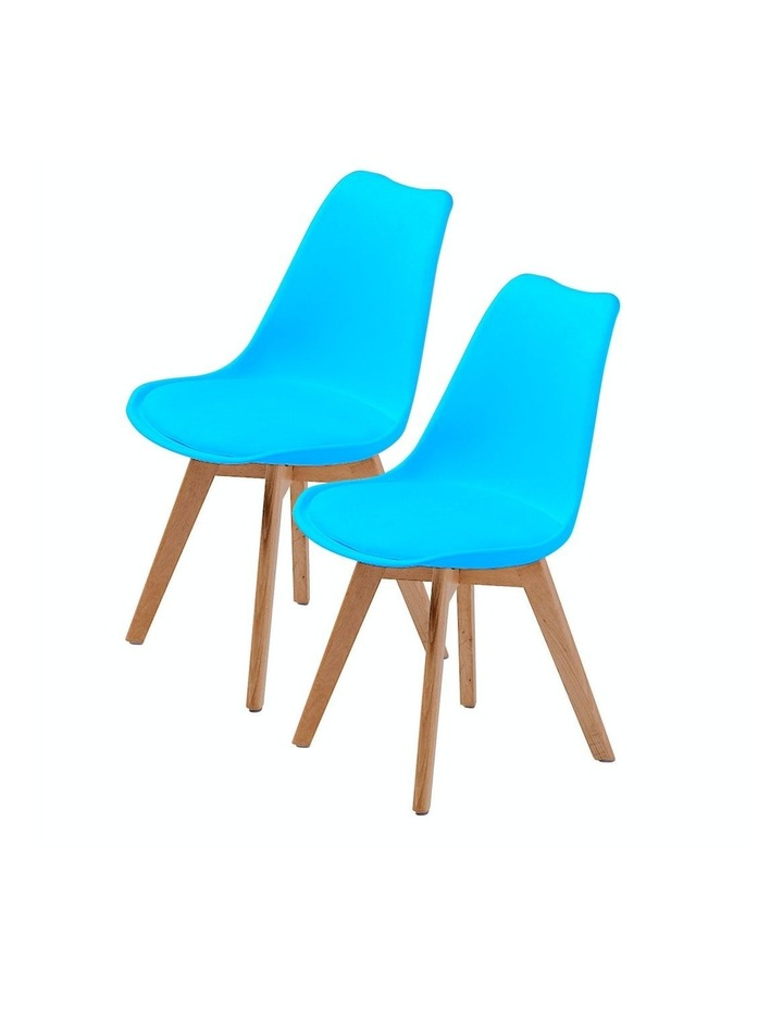 2X Padded Seat Dining Chair - GREY BLUE image 1