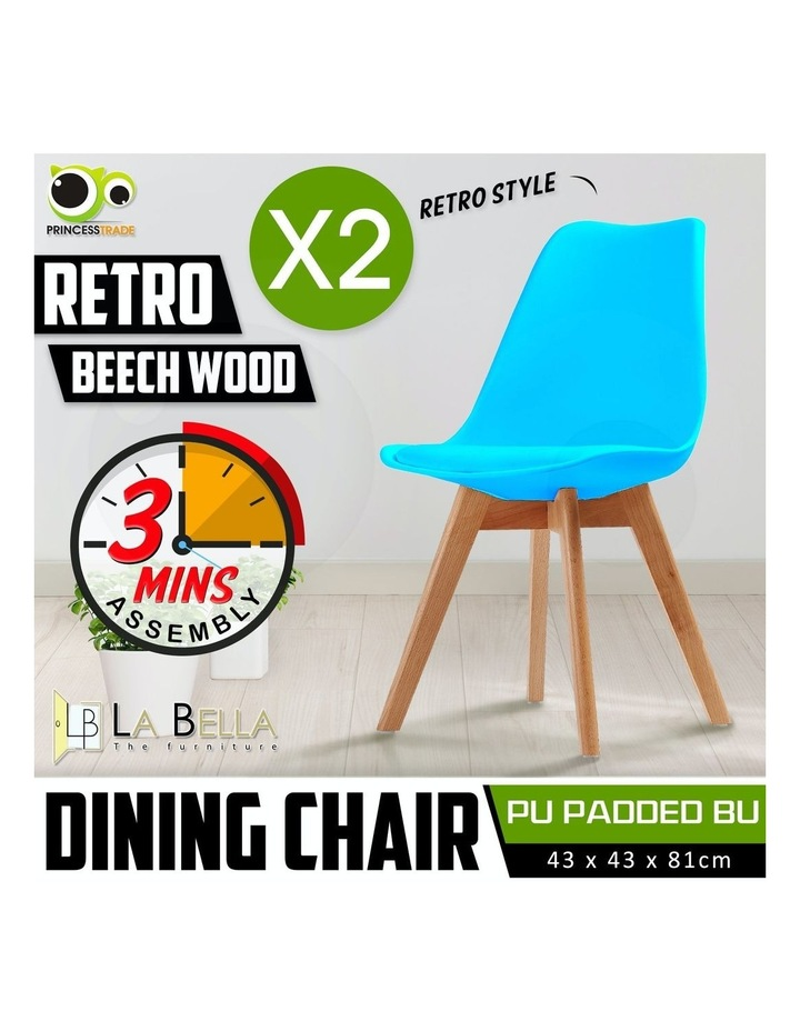 2X Padded Seat Dining Chair - GREY BLUE image 2
