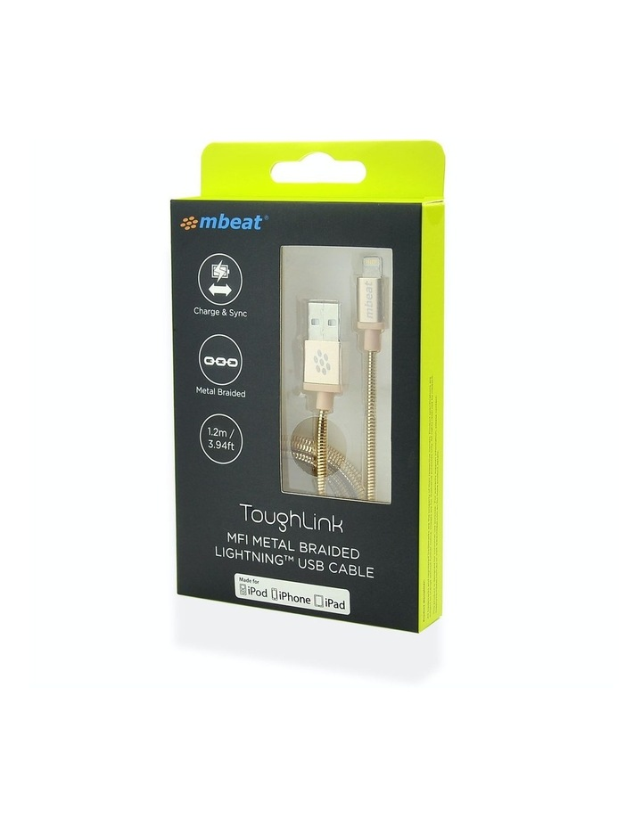 Toughlink Gold 1.2M Metal Braided Mfi Lightning Cable image 5
