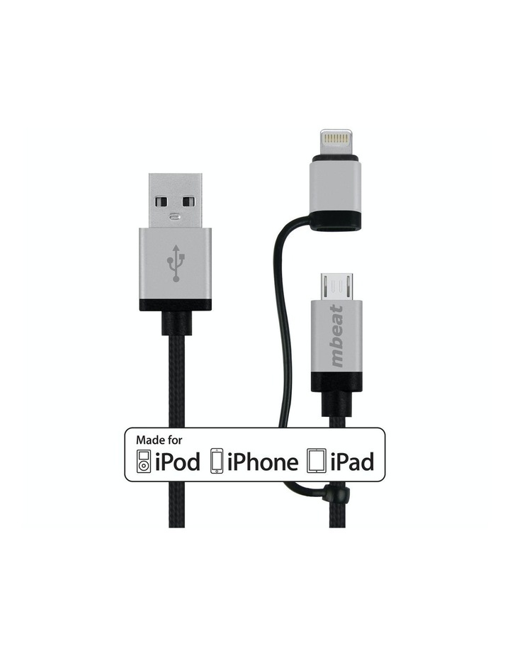 2-In-1 Aluminum & Nylon Braided Lightning & Micro Usb Cable -Silver image 4