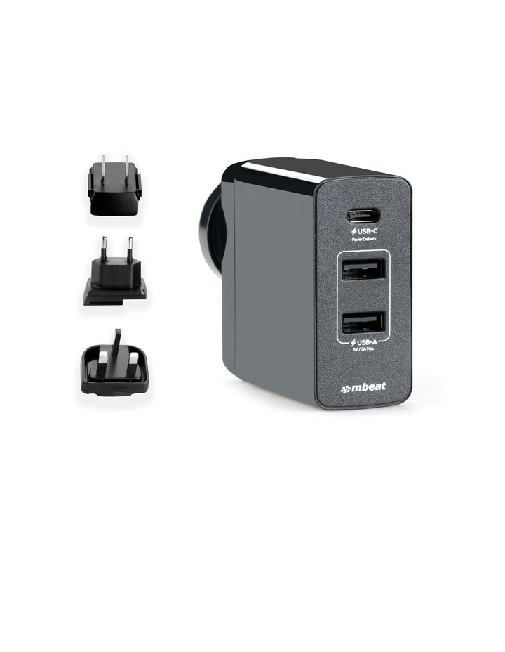 World Travel Charger(Usb-C X 1, Usb-A X 2) With Interchangeable Plugs image 1