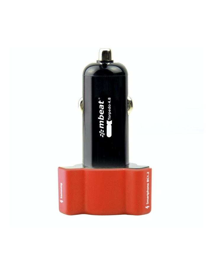 3-Port 4.8A 24W Rapid Car Charger - Red image 3