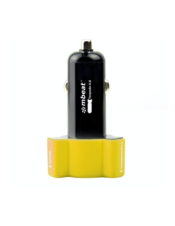 3-Port 4.8A 24W Rapid Car Charger - Yellow image 3