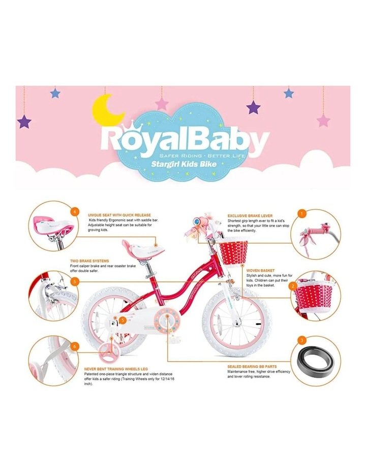 Stargirl Girls Kids Bike 12 14 16 18 Inch, Pink and White Color image 2