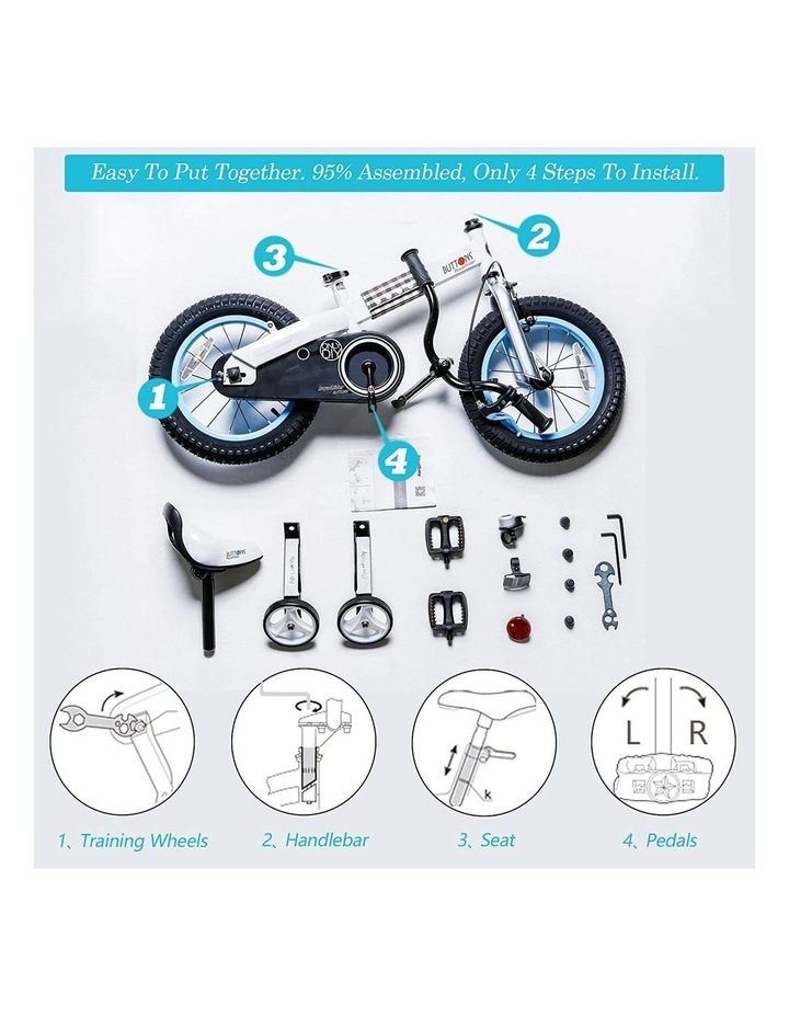 """Buttons 12/14/16/18"""" Kids Bike in White/Blue image 4"""