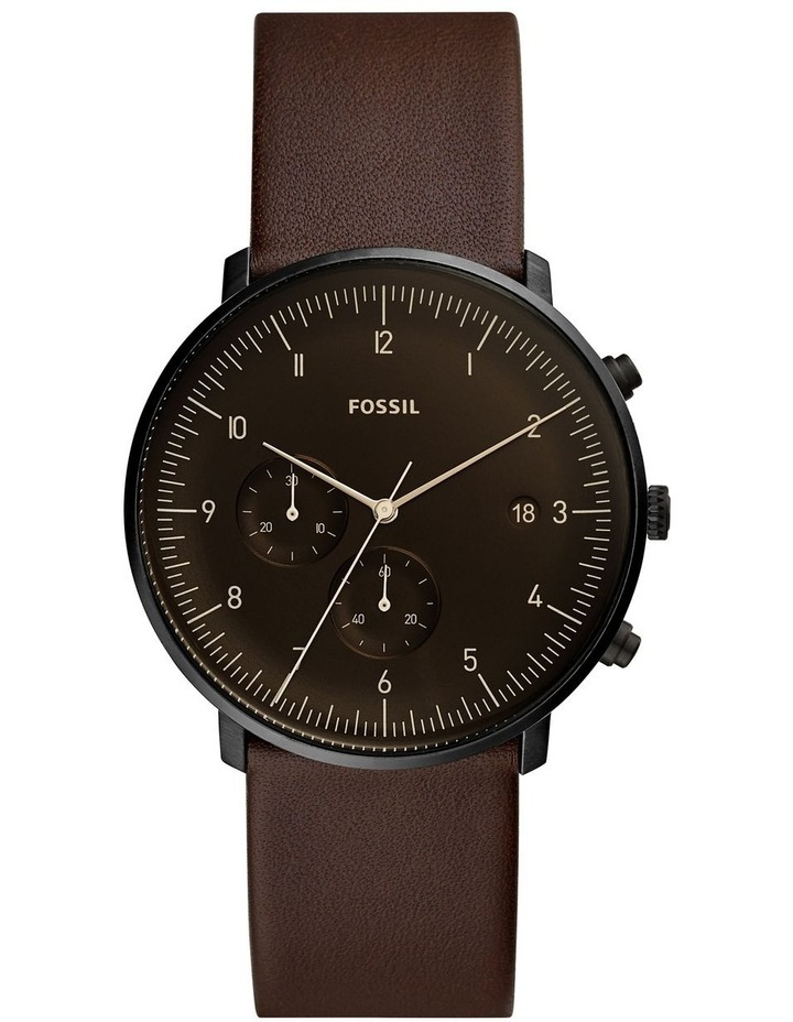Fossil Chase Timer Men Brown Leather Watch FS5485 image 1