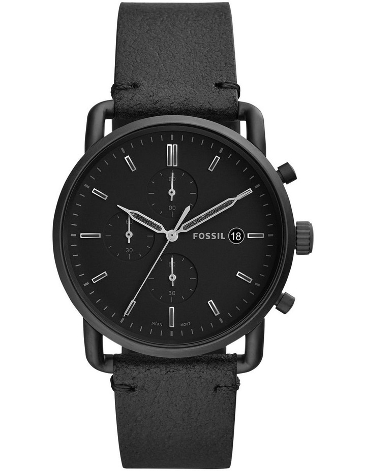 The Commuter Chrono Men Black Leather Watch FS5504 image 1