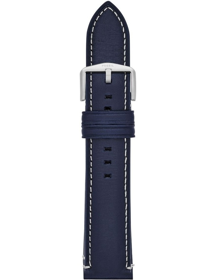 22mm Blue Leather Watch Strap image 1