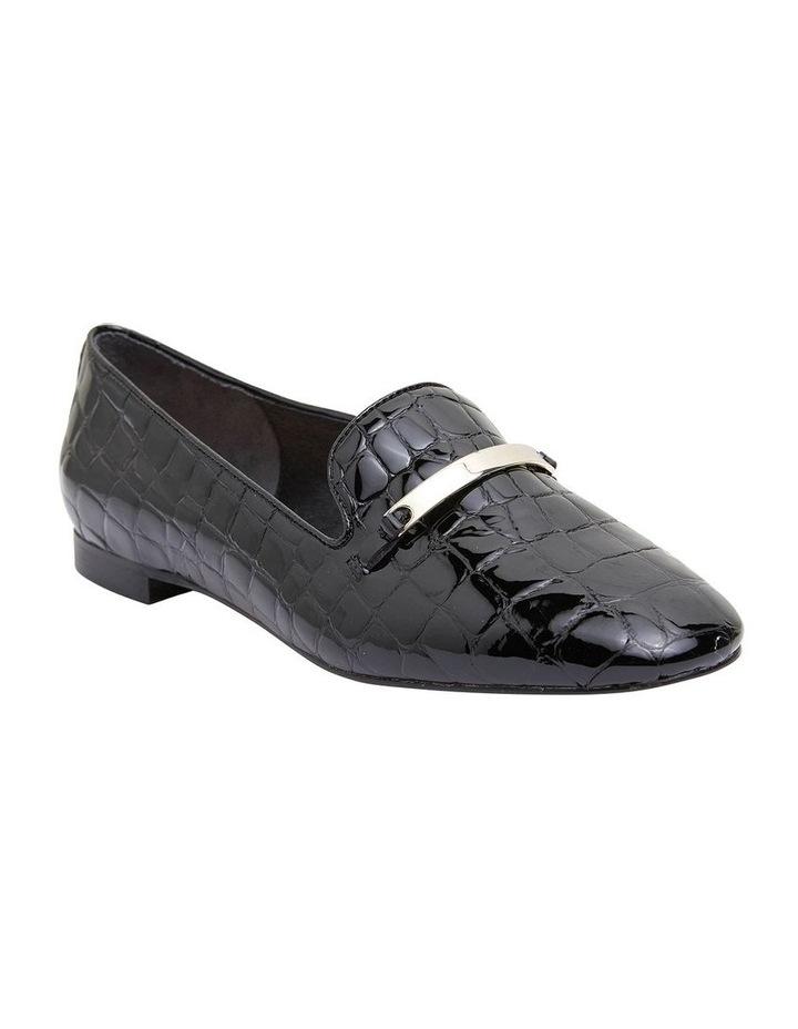 Quantum Black Patent Croc Flat Shoes image 2
