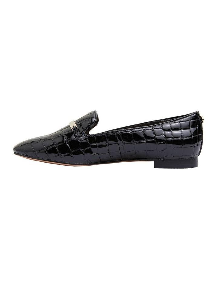 Quantum Black Patent Croc Flat Shoes image 3