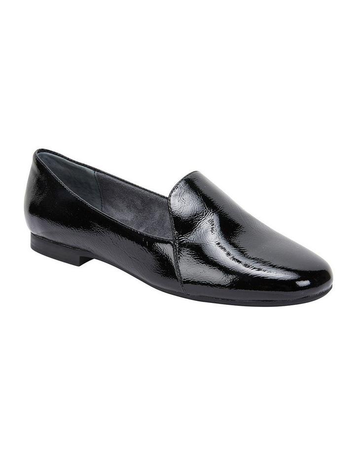 Castle Black Crinkle Patent Flat Shoes image 2
