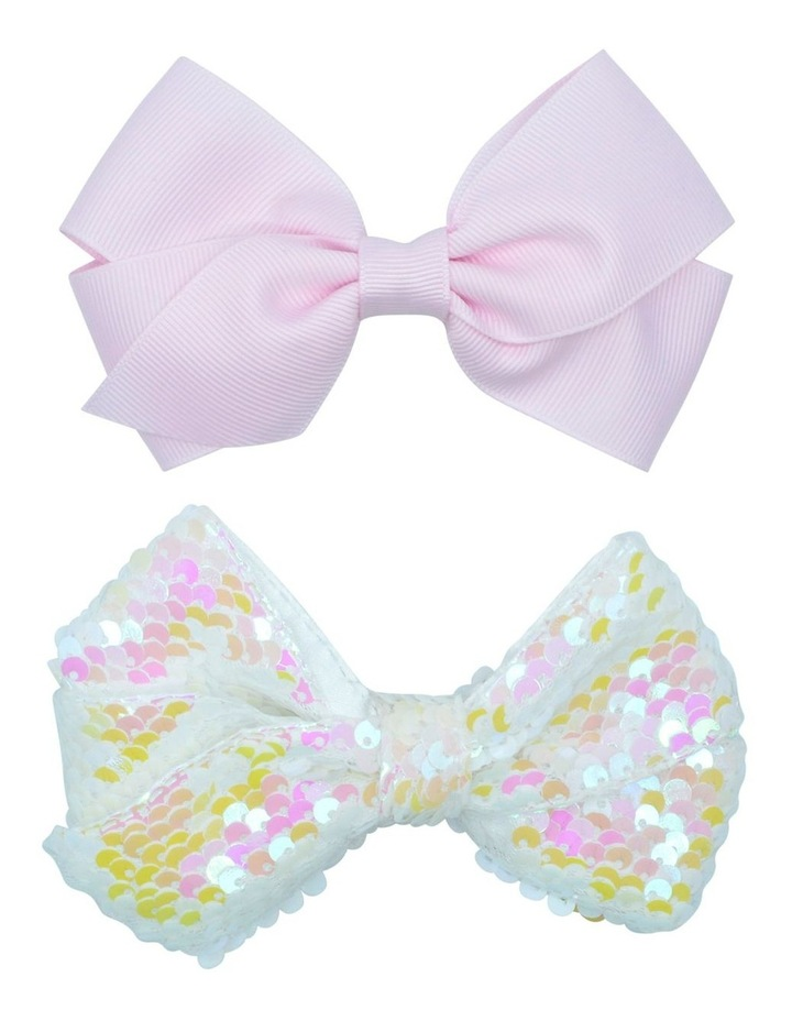 Hairclip Bow Sequin White 2 Pack image 1