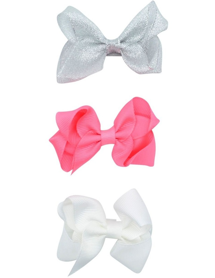 Hairclip Bow Silver Pink White 3 Pack image 1