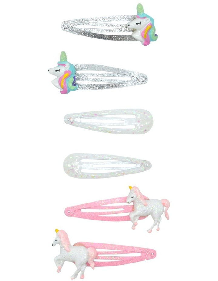 Hair Clip Unicorn Star Pink 6 Pack image 1